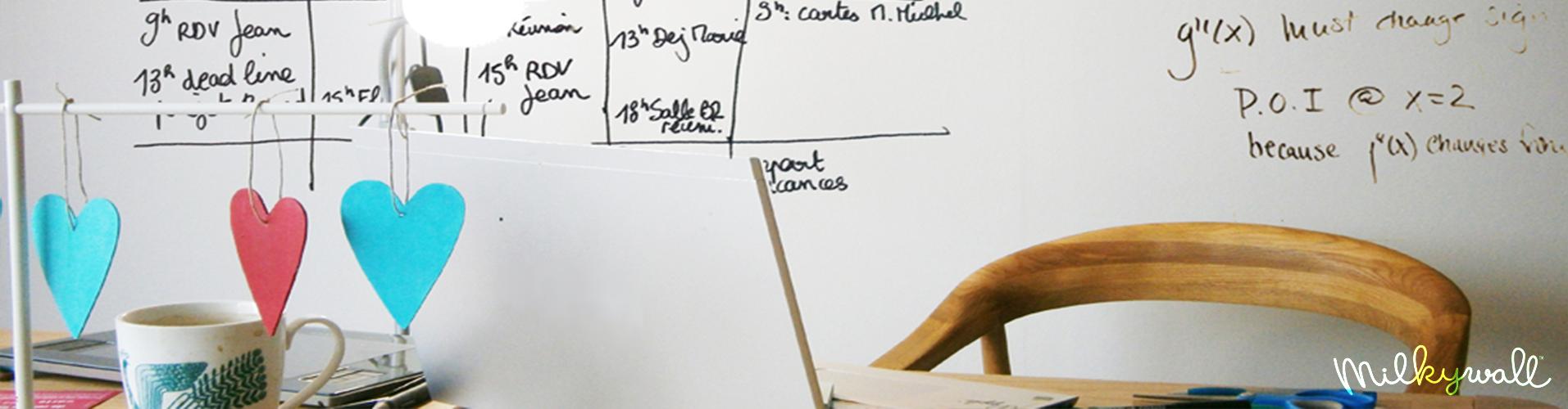 La peinture tableau blanc milkywall pour pro particuliers - Tableau pour ecrire ...